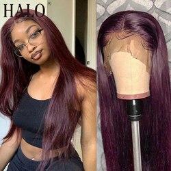 Halo перуанский прямые волосы 30 дюймов прозрачный кружевной парик человеческих волос парики 99J красный бордовый предварительно вырезанные ч...