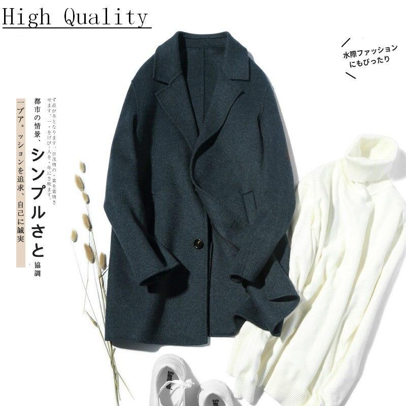100%Wool Coat Men Double-sided Spring Autumn Long Jacket Men Korean Coat and Jacket Casaco Masculino LM18-1003 KJ1556