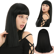 QQXCAIW Short Bob Wig Natural Straight Wigs Synthetic Hair with Bangs for Women Daily Use Shoulder Length