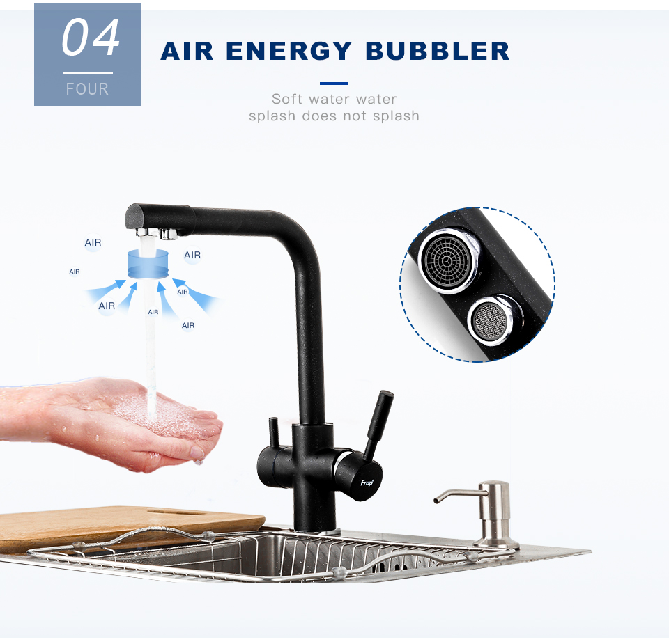 H97e9697f638044e687f047054a0ef5a8p Frap New Black Kitchen sink Faucet mixer Seven Letter Design 360 Degree Rotation Water Purification tap Dual Handle F4352 series