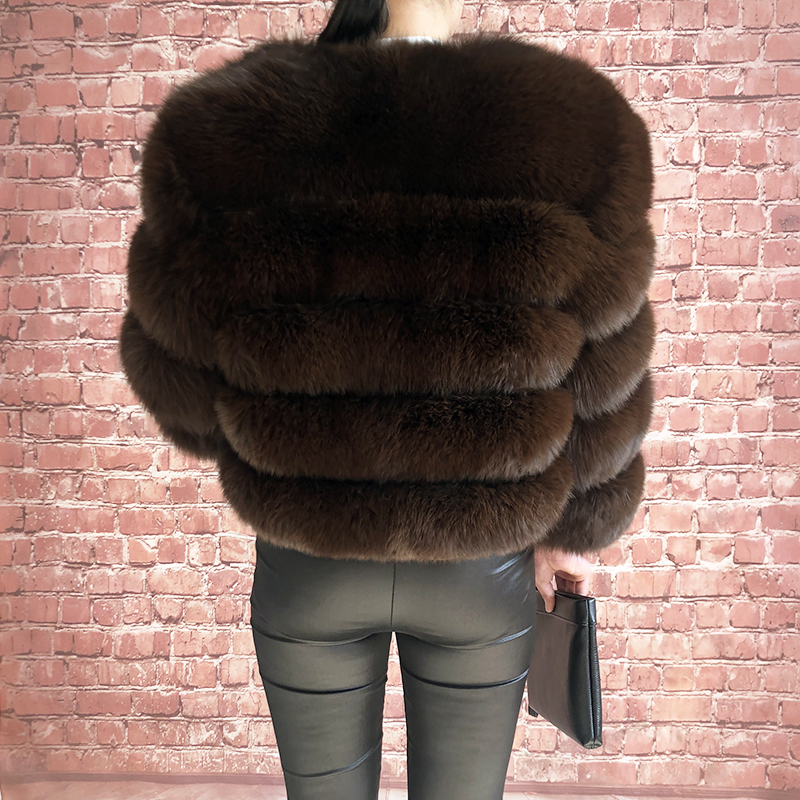 2019 new style real fur coat 100% natural fur jacket female winter warm leather fox fur coat high quality fur vest Free shipping 185