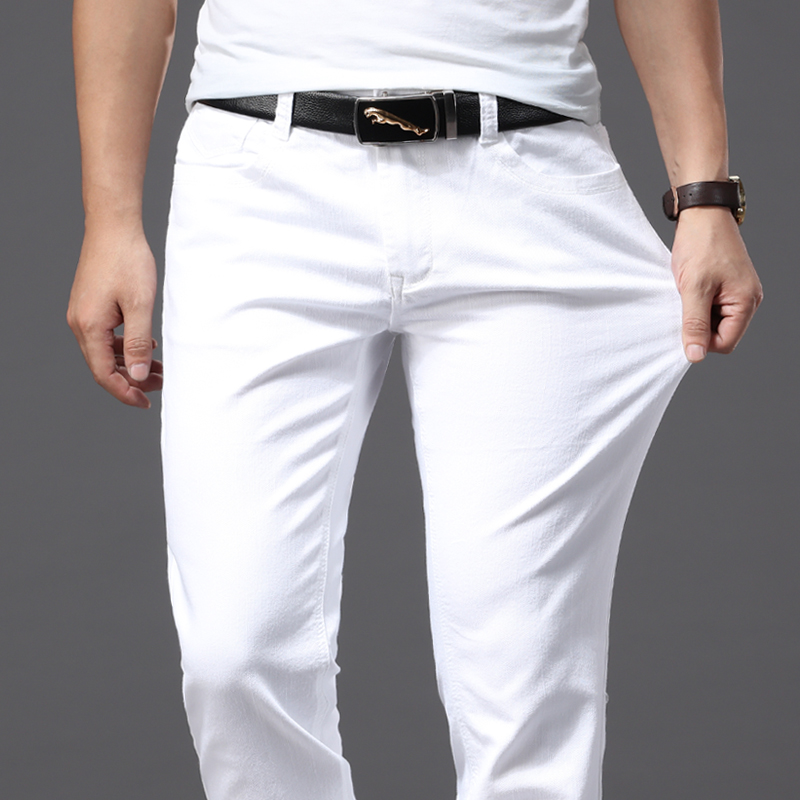 Spring and Summer Men Thin White Jeans Fashion Casual Classic Style Slim Fit Soft Trousers Male Brand Advanced Stretch Pants|Jeans| |  - title=