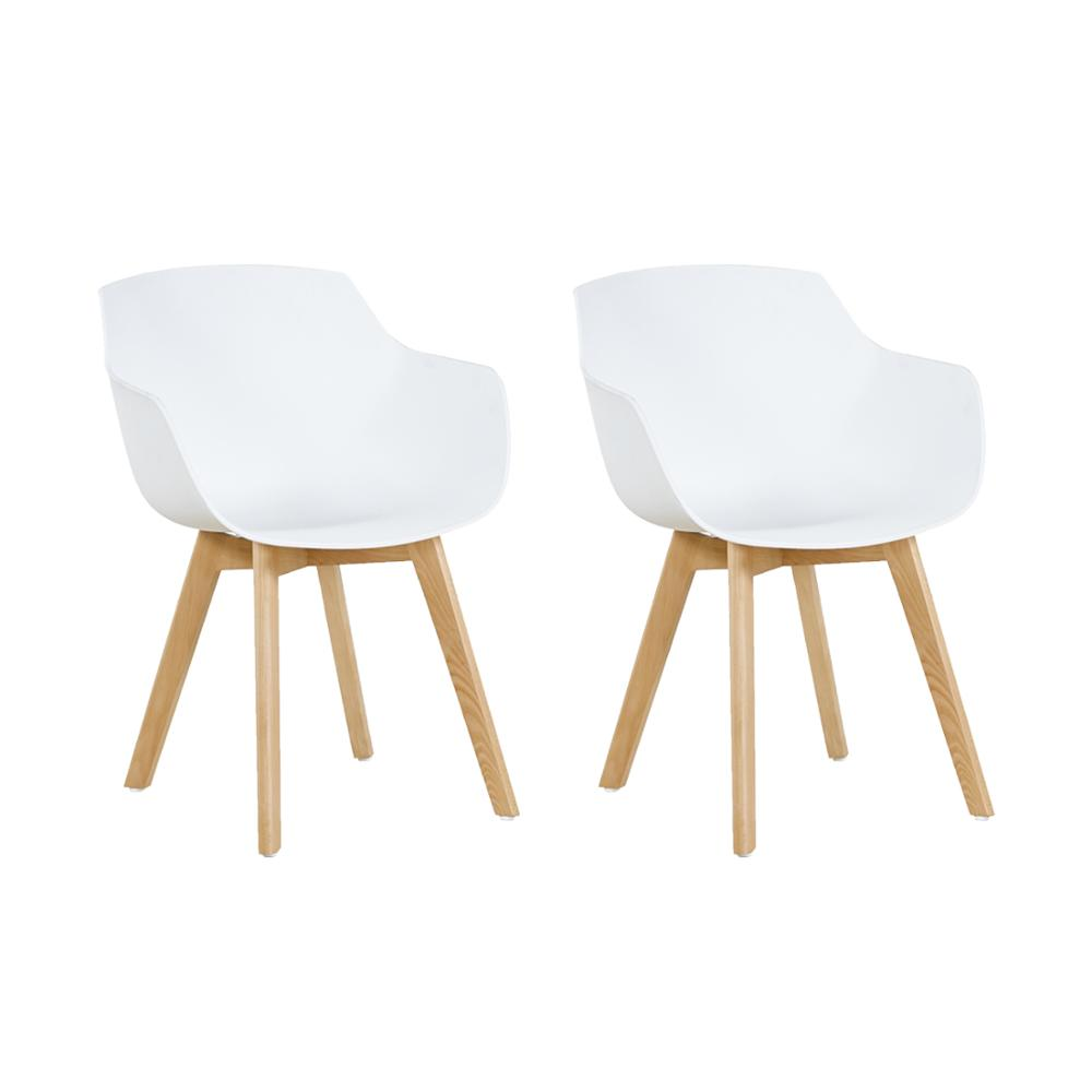 EGGREE Set Of 2pcs Clover Plastic Dining Chair With Beech Wood Legs For Dining Room - White - 2-8days EU Warehouse