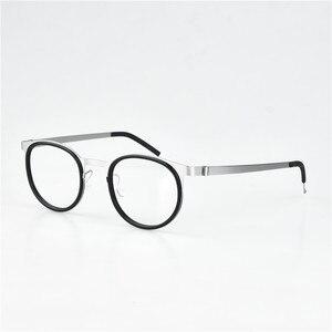 Image 5 - レトロラウンドチタンネジなしメガネフレーム男性眼鏡近視読書眼鏡女性 Oculos デ Grau