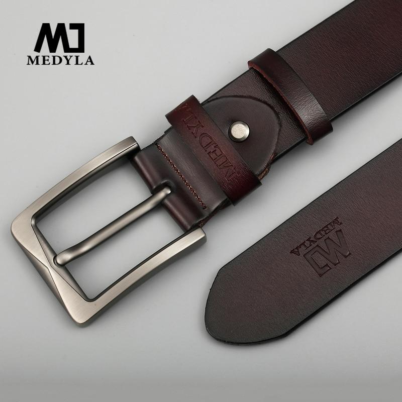 MEDYLA Genuine Leather Belts For Men Luxury Strap Male Belts Classic Vintage Cowbody Black Belt Casual Cummerbund For Male Jeans