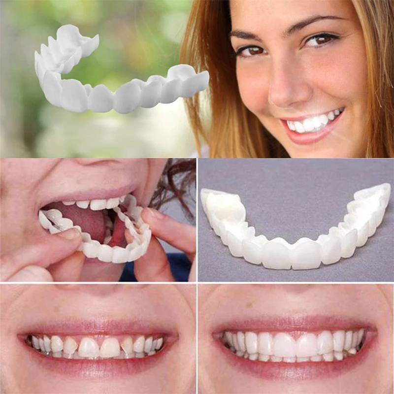 Fake Teeth Top And Bottom Temporary Smile Comfort Fit Oral Whiten Denture Cover Orthodontic Braces Tooth Care