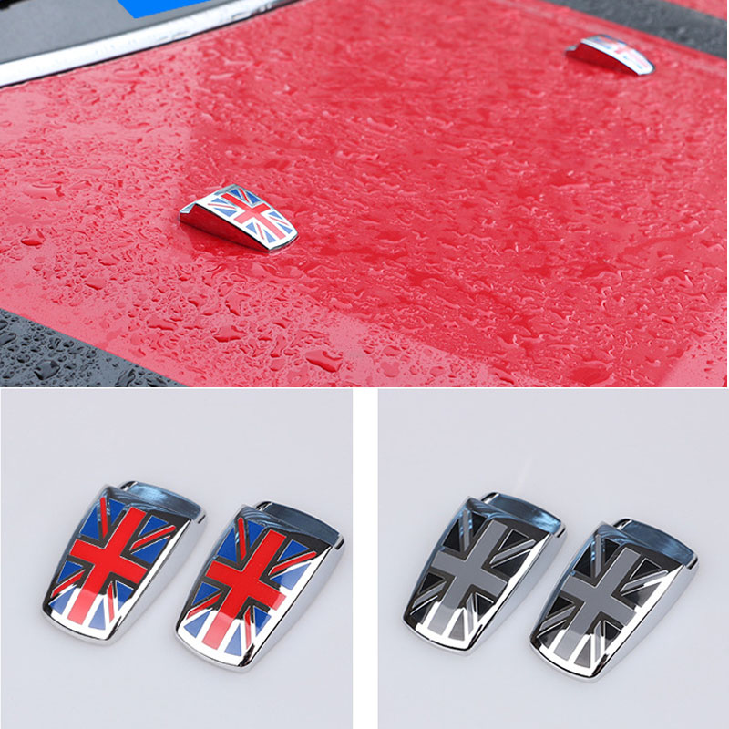 ​Union Jack Windshield Water Spray Nozzle Covers for <font><b>Mini</b></font> <font><b>Cooper</b></font> S Countryman Paceman R55 R56 R60 R61 F54 F55 <font><b>F56</b></font> image