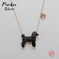 PANDOO Fashion Charm Pure 925 Silver Original 1:1 Copy, Poodle Cute Funny Pendant Necklace Female Luxury Jewelry Gifts