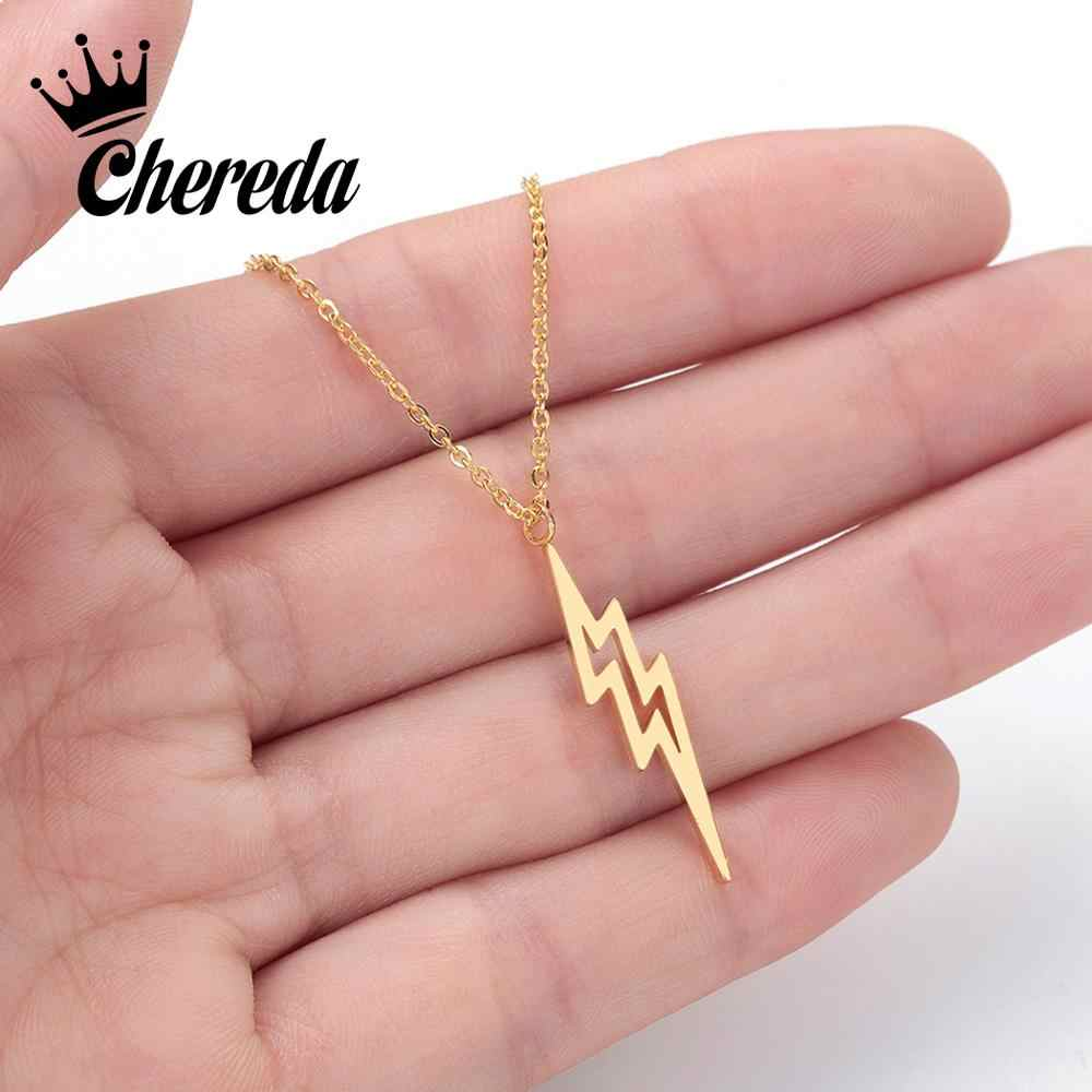 Chereda 2019 Lightning Gold Pendant Necklace Women Minimal Creative Amulet Stainless Steel Jewelry Statement Friend Gift