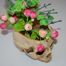 16.5cm Human Skull Design Flower Pot Planter Container Home Bar Decor 3 Styles Resin Planter Flower Pots Home Office Garden Punk