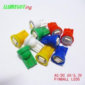 Image 1 - 100pcs 194 T10 #555 טרז בסיס 1SMD 5050 6.3V AC אין קוטביות שונים צבע זמין עבור Bally פינבול משחק מכונת מנורת נורות