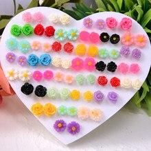 36 pares/set brincos de flor rosa moda mistura na moda dos desenhos animados plástico anti-alergia brincos para meninas jóias criança