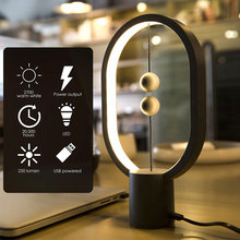Mini Magnetic Heng Balance Lamp LED Night Light Ellipse Mid-air Switch USB Power Intelligent LED Home Decor Table Lamp Novel