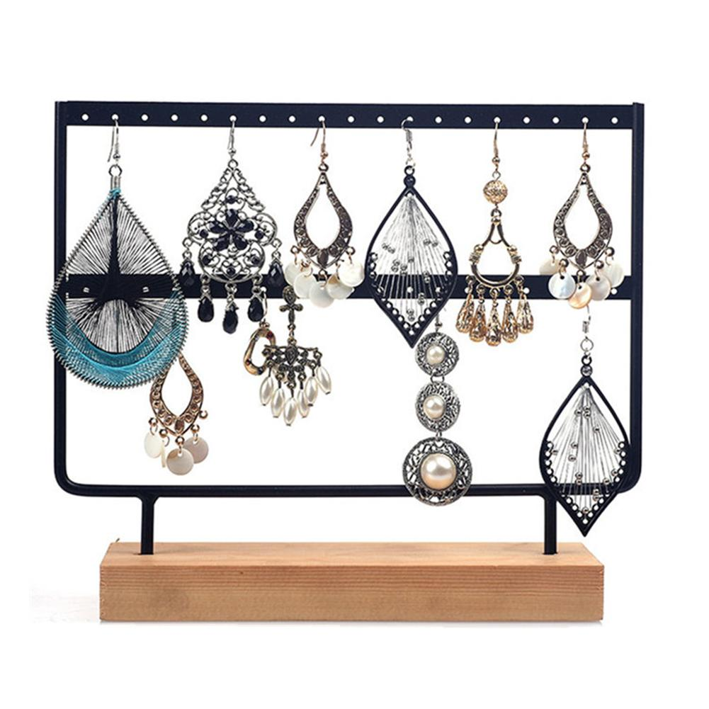 24/44 Holes 2 Layers Earrings Ear Studs Organizer Rack Jewelry Display Stand Iron Holder For Ear Ring Pendant Chain Braclet NEW