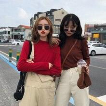 9 Colors Long Sleeve Basic Tshirt Women High Quality Turtleneck White Femme Vintage Chic All-match Womens T-shirt Korean