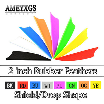 50pcs 2inch Shooting Arrow Feathers Rubber Feather Drop-shape Vanes Compound  Recurve Bow Crossbow Archery Hunting Accessories 50 100pcs 1 75inch hunting arrow feather drop shape fletching high quality 7 color rubber feather vanes shooting accessories