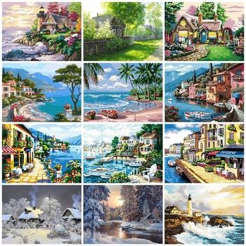Peinture à numéros, divers paysages été paysage d'hiver, phare