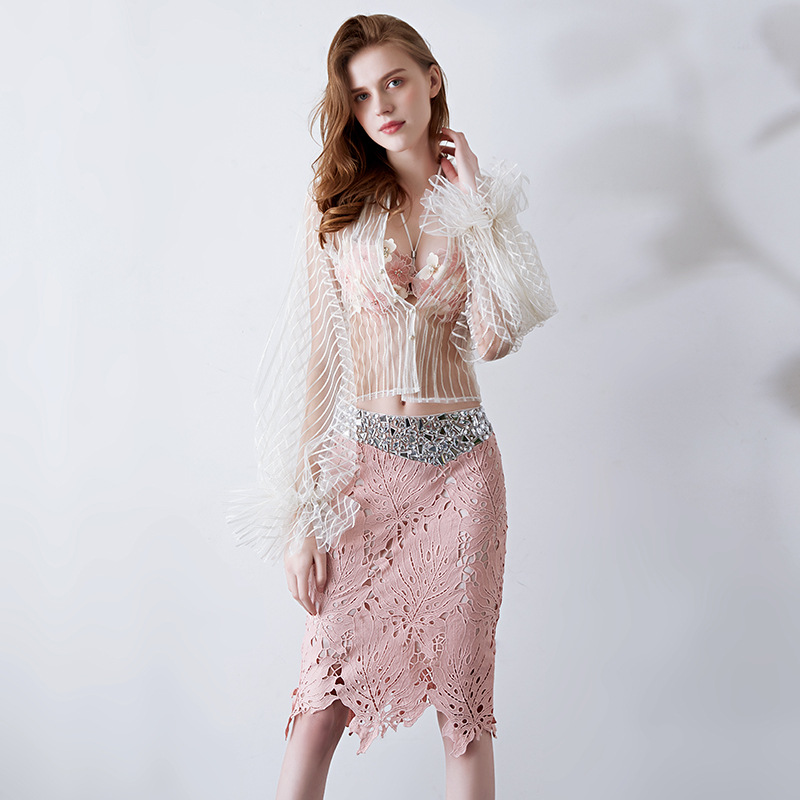 3 Piece Prom Dresses 2019 Short Sexy Gala Elegant Gown Pink See Through Women Beaded Sleeve