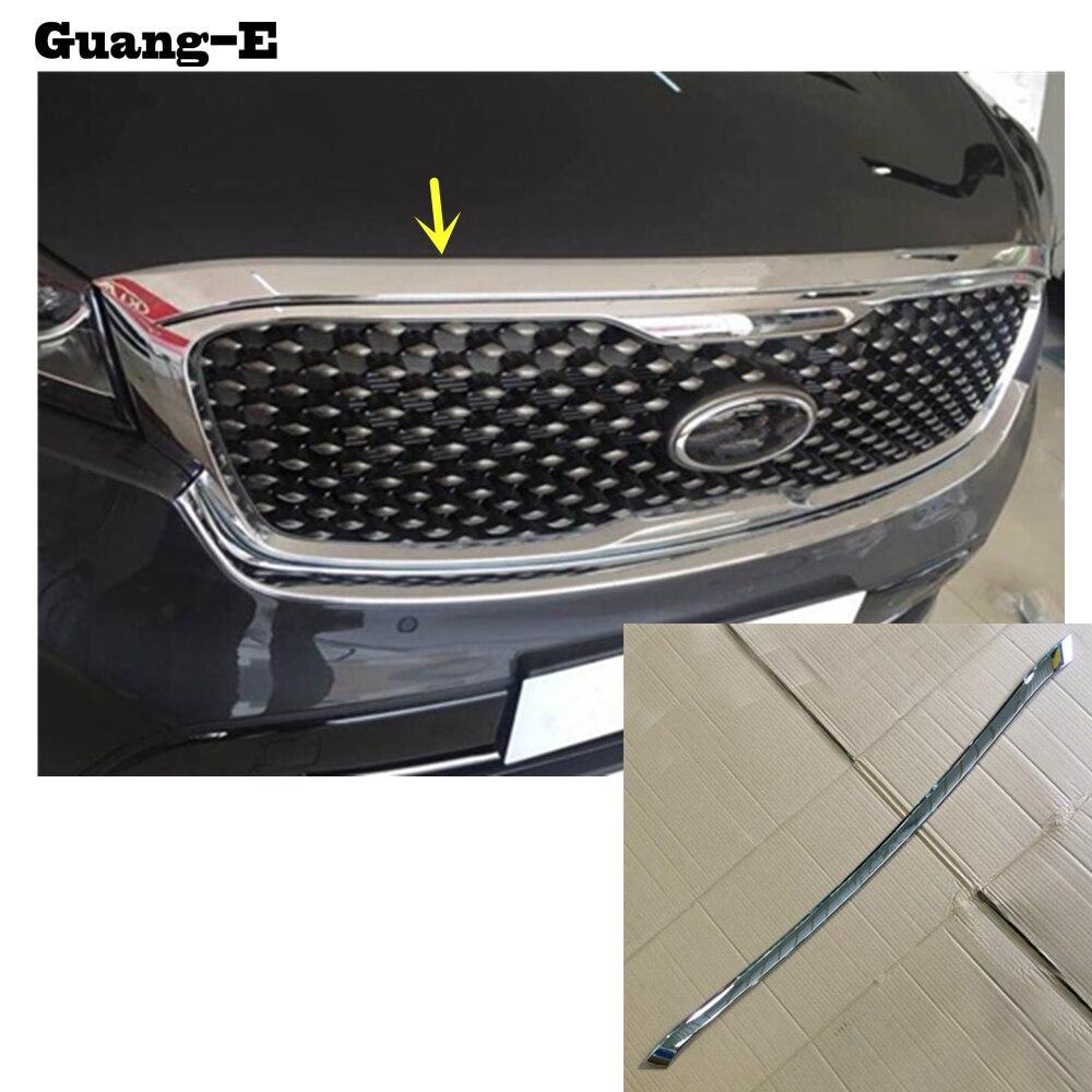 Car Cover ABS Chrome Front Engine Machine Grille Grid Grill Lid Trim Lamp 1pcs For Kia Sorento L 2015 2016 2017