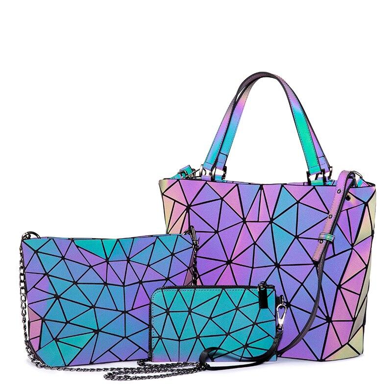 Lovevook Bag Set Women Handbag Luxury Designer Folding Crossbody Shoulder Bag Female Purse And Ladies Geometric Luminous Bag