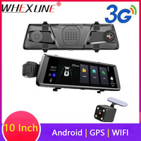 WHEXUNE 10 inch Car DVR dual lens GPS 3G Mirror Dash Cam FHD 1080P Video Recorder Camera Android Rearview Mirror night vision