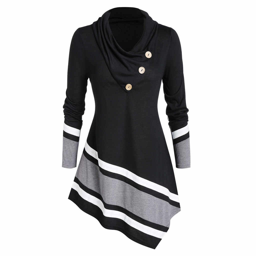 Plus Size 5XL Mode Coltrui Blouse Casual Winter Dames Gestreepte Tuniek Tops Vrouwelijke vrouwen Lange Mouw Blusas Trui