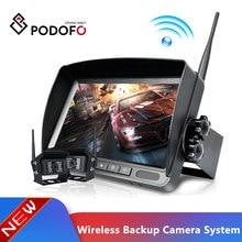 "Podofo אלחוטי 7 ""פיצול TFT אוטומטי צג LCD + 18 LED רכב אחורית גיבוי מצלמה ערכת 12V 24V למשאית ואן קרוון קרוואן"