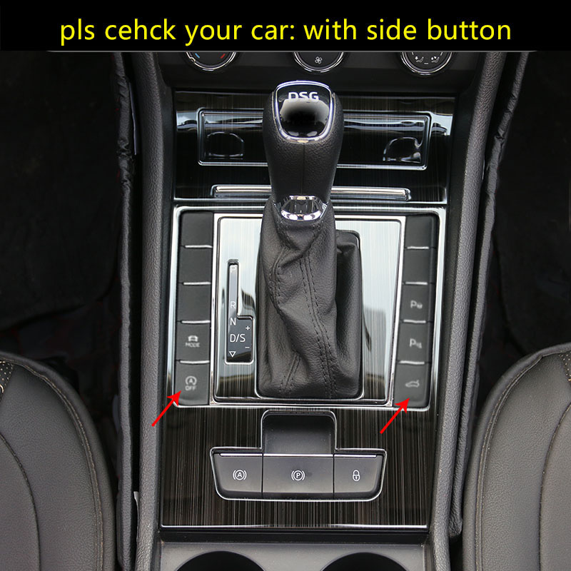 4pcs For SKODA Superb AT 2016-2018 Gear Panel WITH Both Sides Button Decoration Frame Stainless Steel