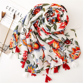 Women Solid Floral Print Scarf with Tassels Girls Spring Summer Tropical Plant Printed Cape Shawl Wrap Long Flower