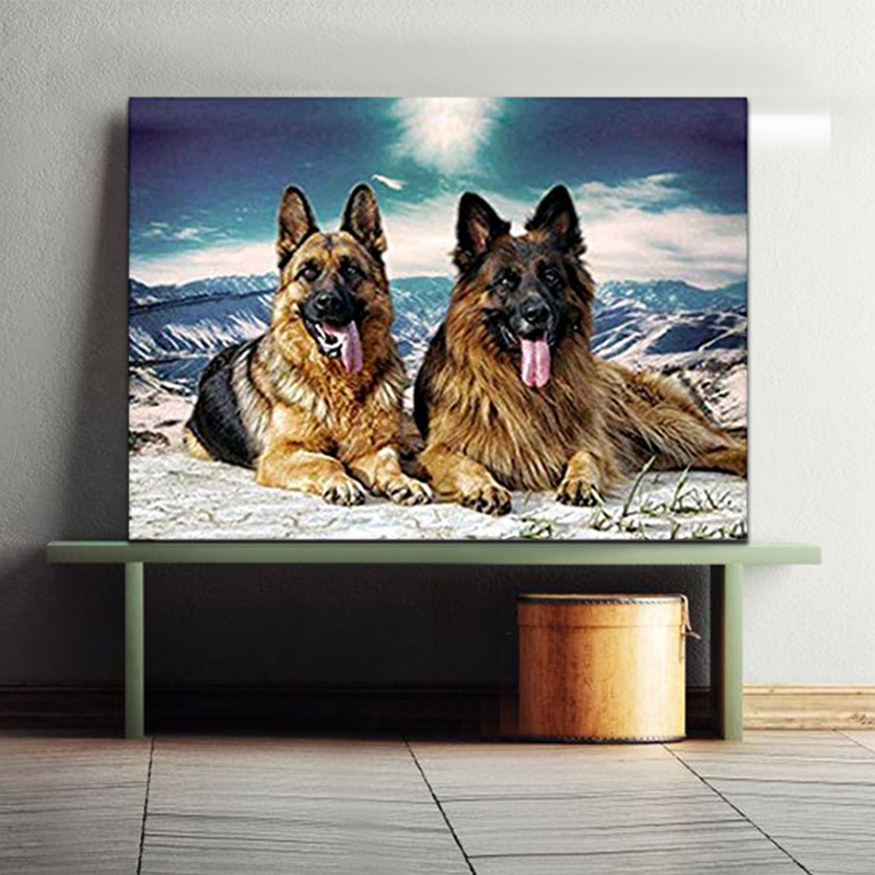 DIY Colorings Pictures By Numbers With Dogs Picture Drawing Relief Painting By Numbers Framed Home