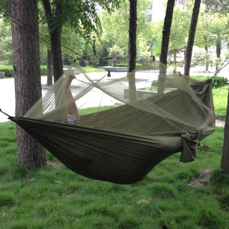 Camping Hammock with Mosquito Net High Strength Parachute Fabric Hanging Bed 1-2 Person Portable Outdoor Hunting Sleeping Swing