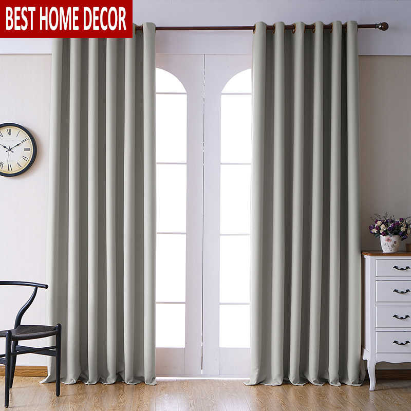 Modern blackout curtains for living room bedroom curtains for window drapes light grey finished blackout curtains 1 panel