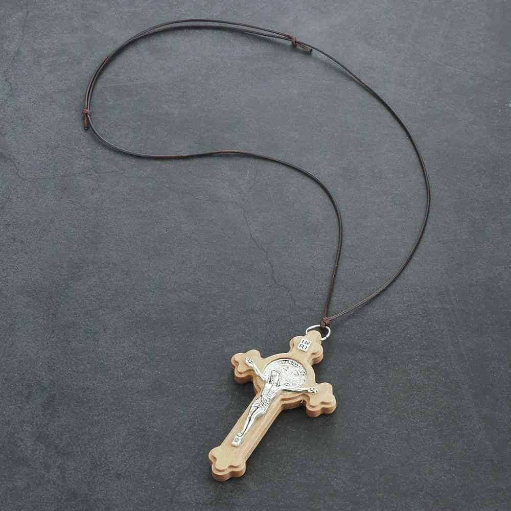 דתי לטיני קתולי צלב שרשרת גדול עץ צלב צלב תליון שרשראות גברים נשים מתכוונן חבל שרשרות תכשיטים
