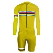 Mens Long Sleeves Trisuit Sleeve Triathlon Bike Jersey Suit Cycling Speedsuit Racing Skinsuit Wear