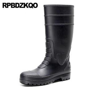 Мужские резиновые непромокаемые сапоги до колена, дизайнерские черные непромокаемые сапоги без застежки размера плюс для осени, 2019