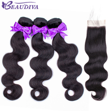 BEAUDIVA Brazilian Hair Bundles With Closure Body Wave Bundles With Closure Human Hair Extension 3 Bundles With Lace Closure цена