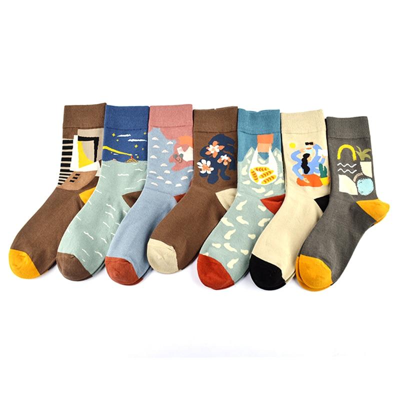 HOT Happy Novelty Pattern Streetwear Embroidered Funny Winter Cotton Men Women Socks Cartoon Cute Warm Japanese Wild Short Sock