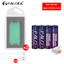 Palo Original 1.5V AA 2a rechargeable battery 1.5V AA li-ion battery for toys camera flashlight+1.5V AA lithium battery charger sale 4 10pcs 1 5v lithium aa battery 3000mah lr6 am3 2a lifes2 cell dry primary battery for camera and toys electric shaver