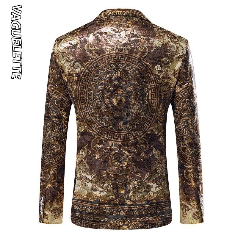 Vaguelette dorado Jacquard Blazer ajustado Blazer Masculino 2019 chaqueta de invierno para hombre Club DJ chaqueta para hombre chaqueta de escenario - 3