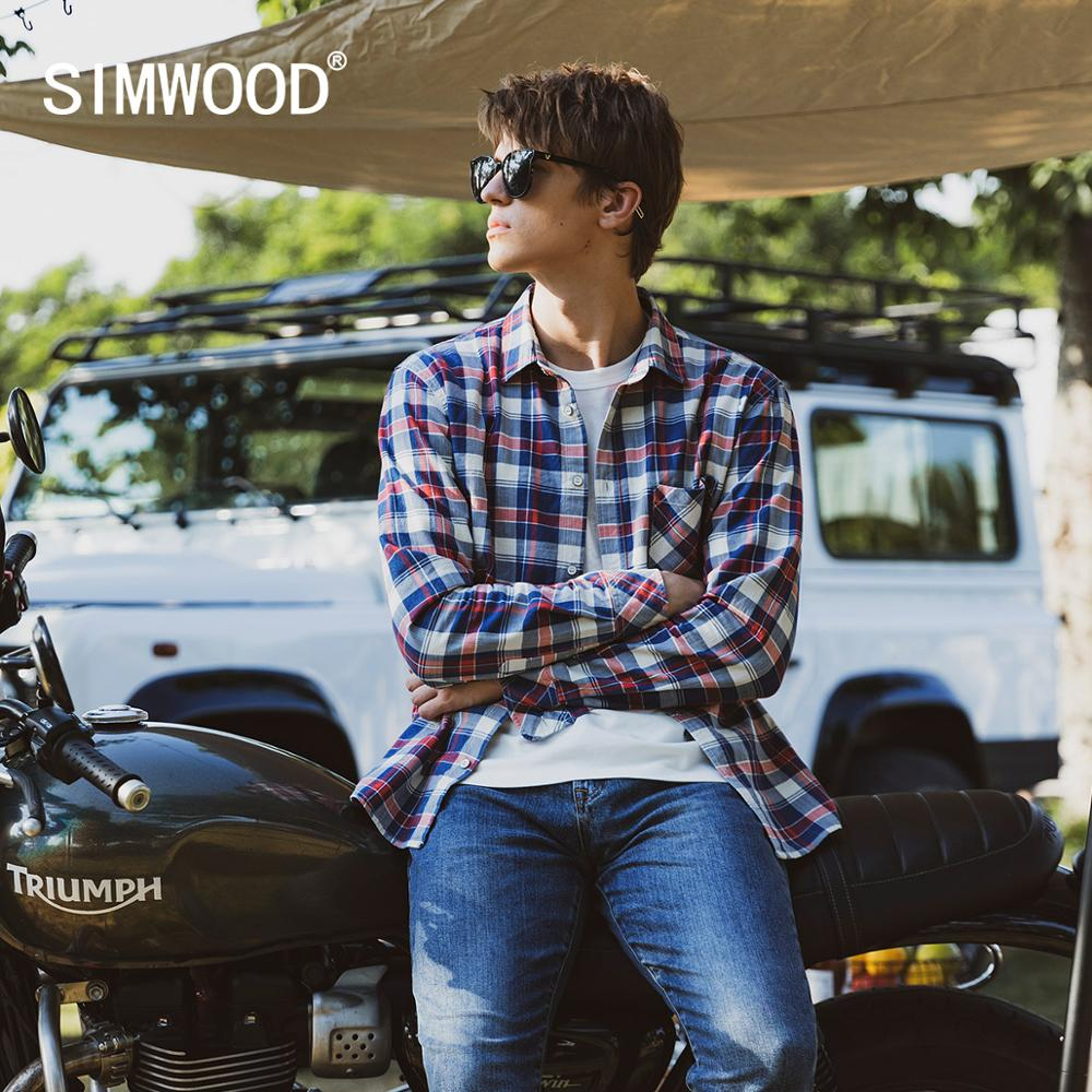 SIMWOOD 2020 Autumn New Vintage Denim Plaid Shirts Men Indigo Casual Plus Size High Quality Shirt 100% cotton shirt SJ170641 1