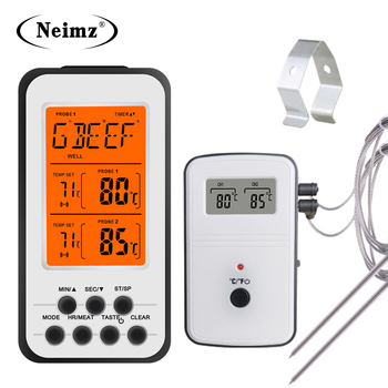 Digital BBQ Thermometer Wireless Kitchen Oven Food Cooking Grill Smoker Meat Thermometer with Probe and Timer Temperature Alarm 1