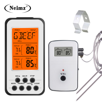 Digital BBQ Thermometer Wireless Kitchen Oven Food Cooking Grill Smoker Meat with Probe and Timer Temperature Alarm - discount item  40% OFF Household Merchandises