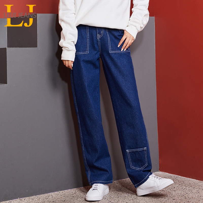 LEIJIJEANS New Arrival Large Size Women's No Elastic High Waist Long Straight Jeans Elegant Women's Casual Straight Jeans 9112