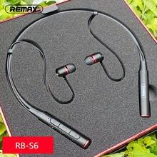 Remax original RB-S6 pescoço pendurado sem fio bluetooth esportes fones de ouvido baixo estéreo música fone de ouvido suporte multi-ponto conexão