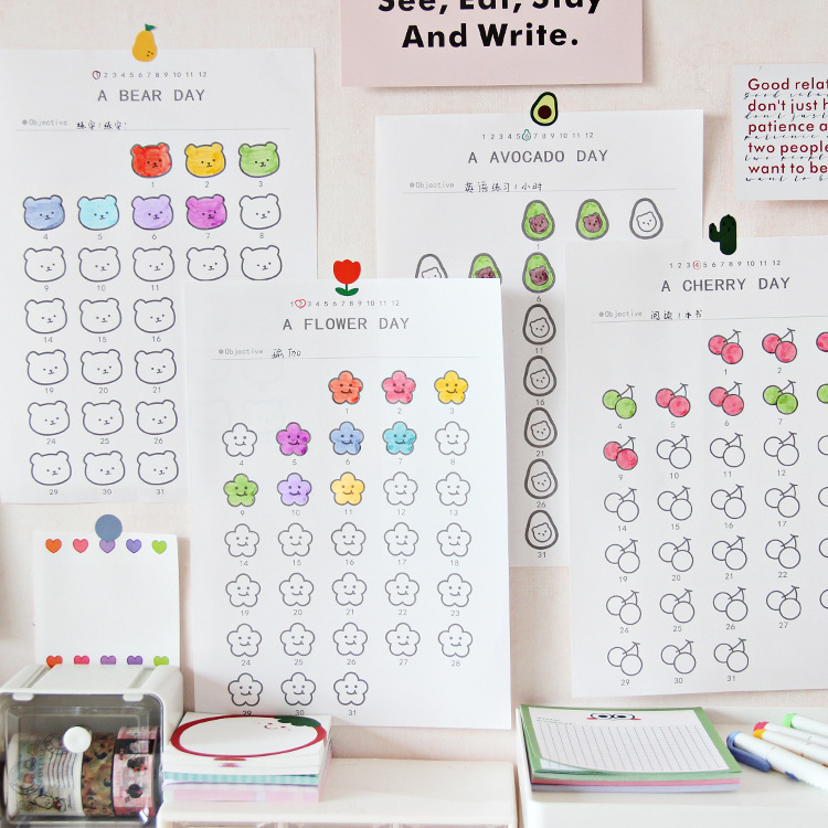 SIXONE Ins Cartoon Cute Fruits Flower Schedule Plan Paper Student Concise Time Management 365 Days Fill In Graffiti Stationery