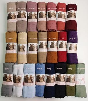 Pom COTTON Hijab Scarf Plain Soft Ball Shawls Muslim Scarves Headscarf Solid Color Wraps Turbans
