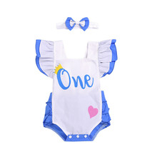 baby rompers newborn Girl Clothes Sleeveless Ruffle Bodysuit Headband 2pcs 1st Birthday Outfit Sunsuit Christening Clothing Set(China)