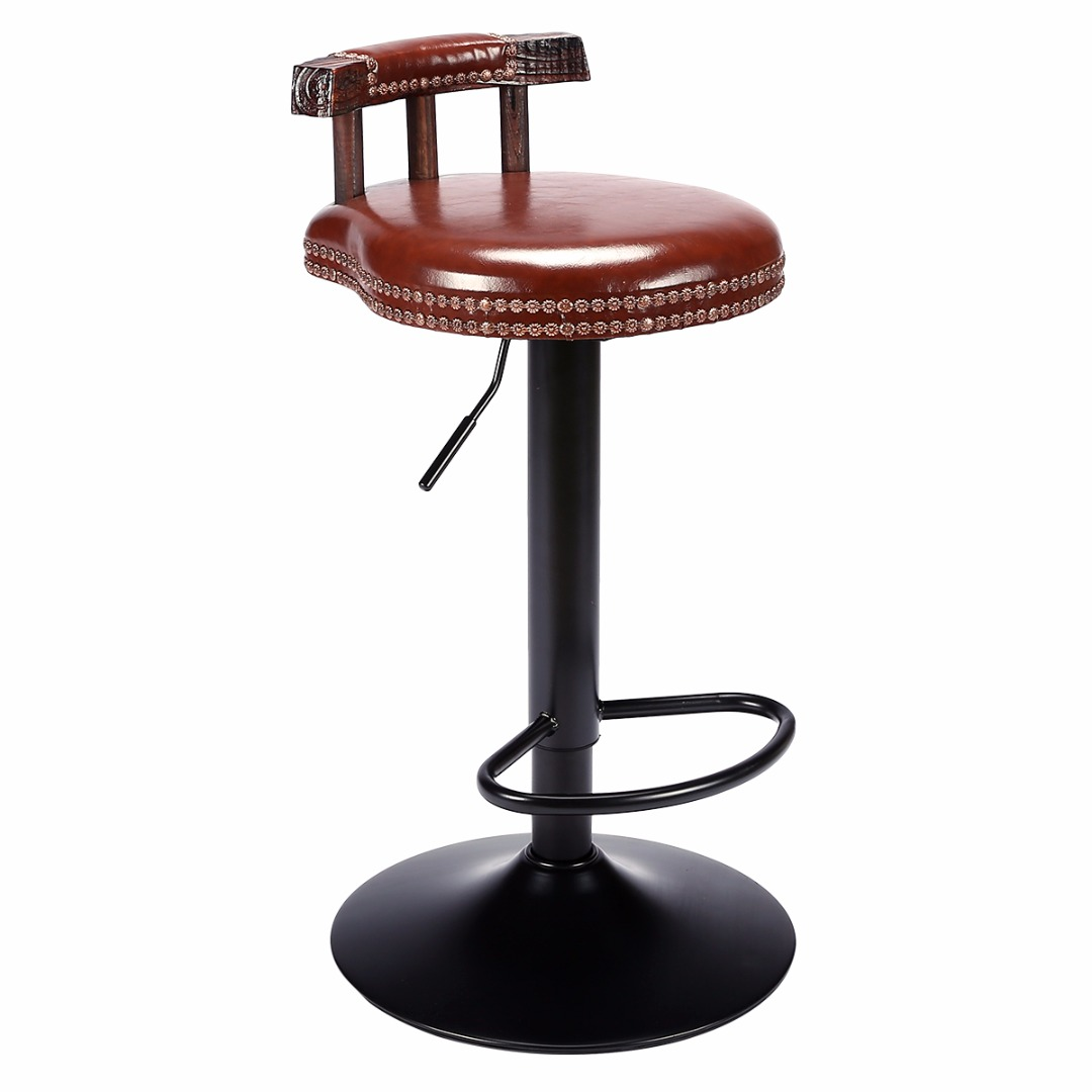 Vintage Metal Bar Stool Height Adjustable Swivel Industrial Cafe Chair Retro Kitchen Dining Chair Pipe Style Barstool