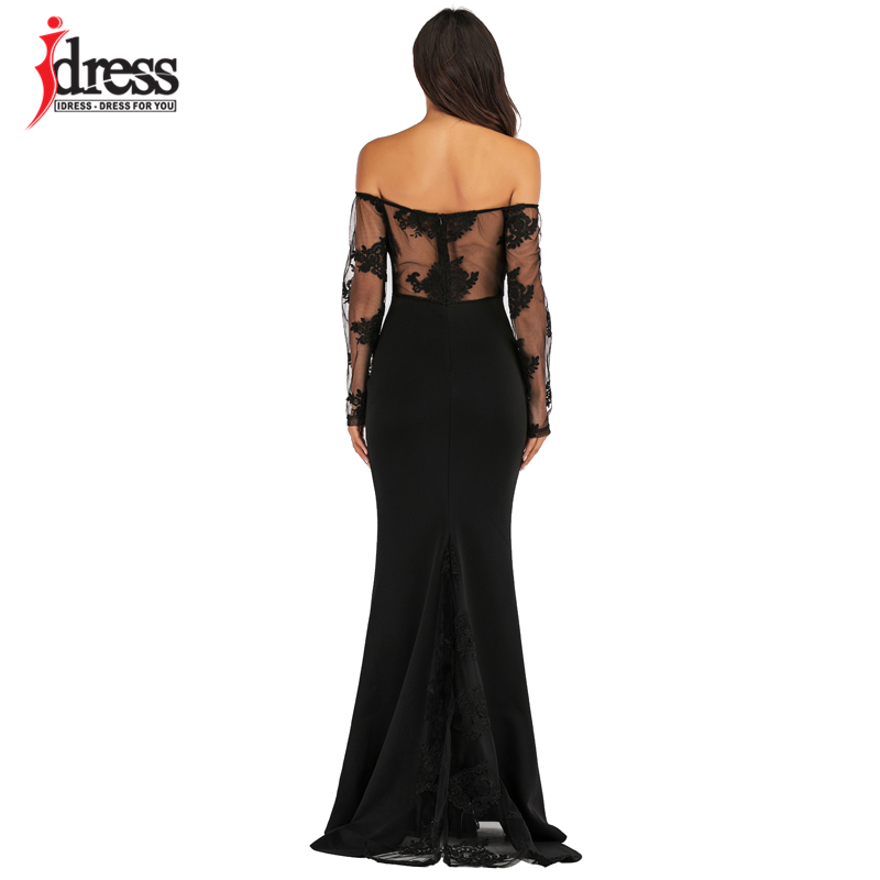 IDress Sexy Slash Neck Off Shoulder Designer Runway Dress Formal Prom Long Dress Women Lace Embroidery Evening Party Dress Long (8)