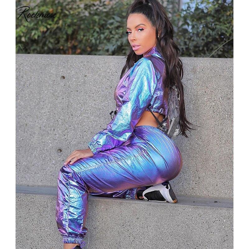 Rockmore Ragular Laser Reflective Pencil Pants Women Pockets High Waist Streetwear Trouser Casual Pant Femme Autumn Winter 2019